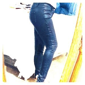 ZARA Trafaluc Wax Coated Blue Skinny Jeans  Pants